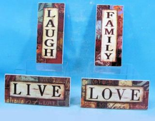 4pc Live Love Laugh Family Wood Wall Art Signs Decor