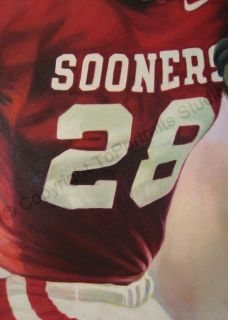 Adrian Peterson Oklahoma Sooners Original Oil Painting