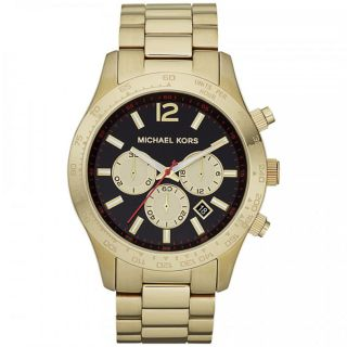 Michael Kors MK8246 Mens Layton Black Dial Gold Tone Steel