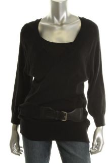 Michael Kors New Black 3 4 Sleeves V Neck Belted Pullover Sweater Top