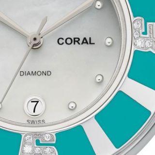 Michele MWW14B000006 Watch Coral Ladies MOP Dial Gray Band 43 Diamonds