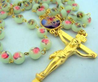 Sain Michael Rose Case Rosary Beads Cross Crucifix