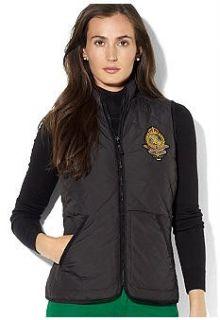 Ralph Lauren Womens Vest Black Reversible Quilted Multi Sizes MSRP $
