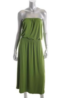 Michael Kors Green Jersey Mid Calf Strapless Blouson Maxi Dress L BHFO