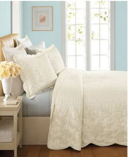 Martha Stewart Pressed Flowers Cream Ivory King Bedspread