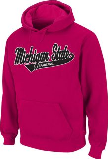 Michigan State Spartans Womens Pink Twill Tailsweep Hooded Sweatshirt