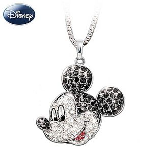 Disney Mickey Mouse Classic Silver Crystal Pendant Necklace Jewelry