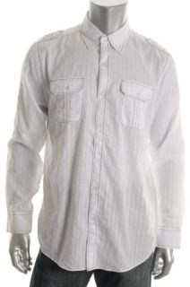Michael Brandon New Novelty White Shadow Striped Long Sleeve Button
