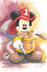 Mickey Mouse Fireman Mickey Michelle St. Laurent Disney NEW Canvas LE