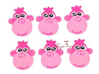6X Pink Monkey Head Rubber Eraser Toy Party Gift GSB04