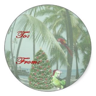 Tropical Hawaiian Christmas Gift Tag Sticker