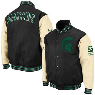 Michigan State Spartans Black Sparty Varsity Letterman Button Up