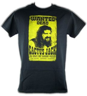 Cactus Jack Mick Foley Wanted Dead Poster T Shirt New