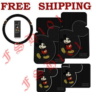 Brand New Mickey Mouse Floor Mat and Steering Wheel Cover for Car