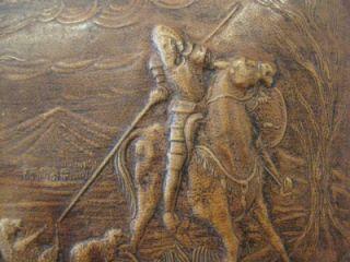Leather Jeype Hunting Knight Miguel De Cervantes Box Casket 1950