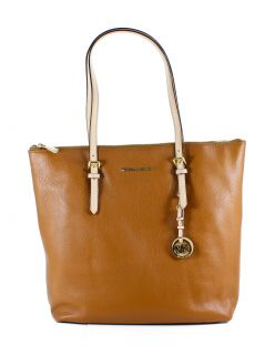 Michael Kors Luggage Brown Jet Set Large North South Leather Tote