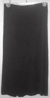 Fisher Black 100 Crepe Silk Unlined Gathered Elastic Back Long Skirt M