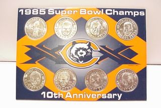 Chicago Bears 1985 Super Bowl Champions Coin Card Set