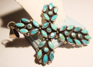 Huge Sterling Turquoise Cross Pendant Mexico Signed JRI
