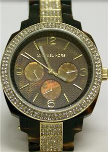 Michael Kors Womens Crystal Brown Print Watch MK5058