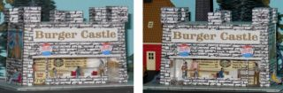 HO Lighted Burger Castle Prince Castle White Castle Illuminated