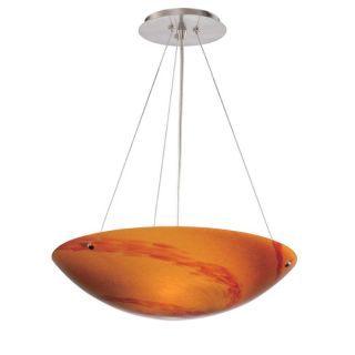 NEW 3 Light Pendant Lighting Fixture, Satin Nickel, Orange Lava Swirl