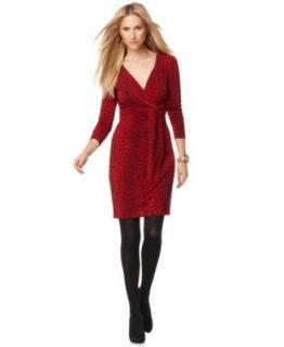 Michael Kors New Red Cheetah Print V Neck Wrap Front Clubwear Dress M