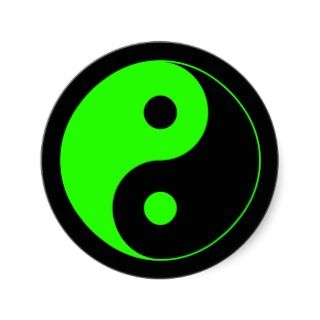Green & Black Yin Yang Symbol Sticker