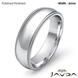 1g 10z Ring Wedding Band Dome Milgrain 6mm 14k White Gold Solid