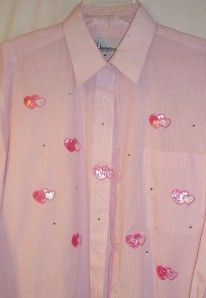 Mili Designs Shirt Top Blouse Sz M Hearts Rhinestones