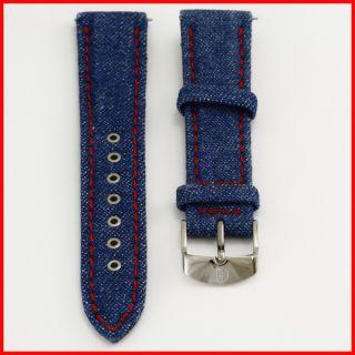 Michele Denim Jean Red Stitch Upper Silver Buckle Leather Watch Strap