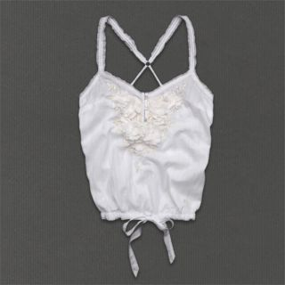 Abercrombie Womens Michelle Embellished White Cotton Cami Blouse Top