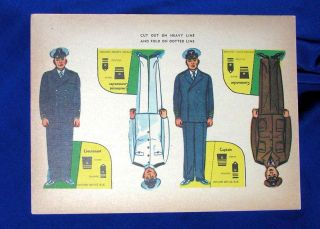 Unused Vtg Military Cut Out Paper Doll Toy C 1940 4 Dolls
