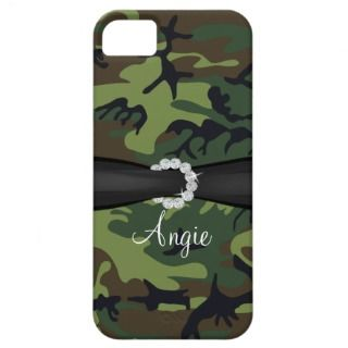 Personalized Green Camo Diamond Ribbon iPhone Case iPhone 5 Case
