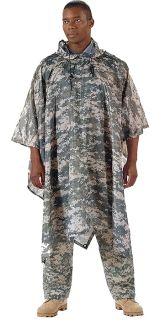 Digital Camouflage Military Emergency Survival Rip Stop Poncho