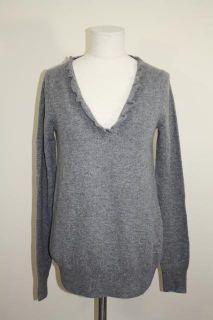 JCrew Cashmere Ripple V Neck Sweater Pullover $178 Heather Gray S