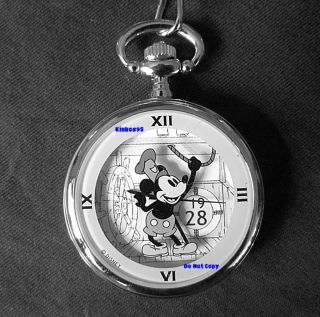 Disney Mickey Mouse Steamboat Willie Auto Pocket Watch