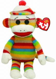 Ty Beanie Babies Socks Striped Plush Sock Monkey New