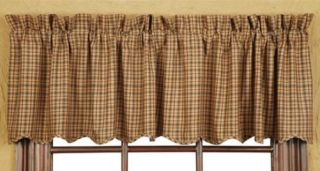 Burgundy Navy and Tan Millsboro Lined Scalloped Country Window Valance