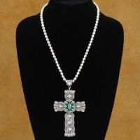 Sterling Silver Turquoise Cross Crucifix Pendant Necklace
