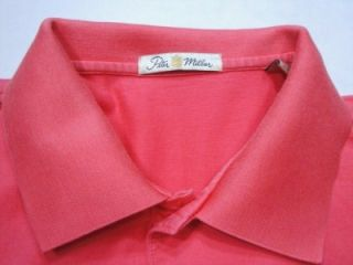 Peter Millar Salmon Short Sleeve Polo Shirt L