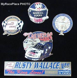 Rusty Wallace MILLER BEER ~ ELVIS PRESLEY NASCAR Hat Cap Pin Set in