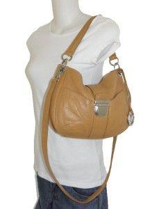 Michael Kors Tan Brown Leather Riley Medium Messenger Crossbody Bag