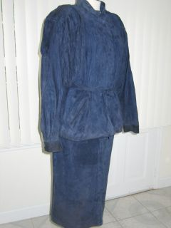 Serge Miko Diffusion Paris Blue Suede Leather Suit 44