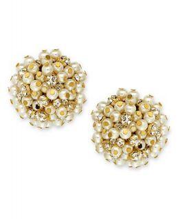 Charter Club Earrings, Gold Tone Glass Pearl Clip On Earrings