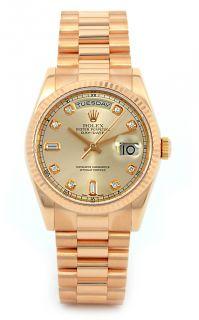 Rolex Men 18K Rose Gold President Factory Diamond Dial 118235 P