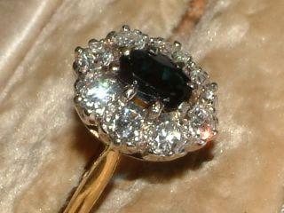 18 Carat Gold Platinum Sapphire Diamond Cluster Ring