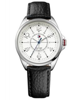 Tommy Hilfiger Watch, Womens Black Leather Strap 40mm 1781248   All