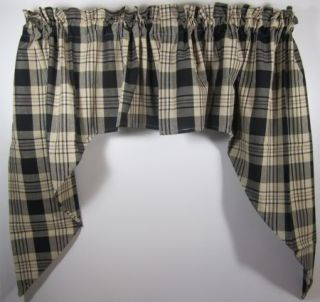 Country Black Tan Plaid Millbury Cotton Swag Pair 72x36