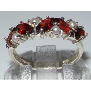 Unusual Solid Sterling Silver Natural Garnet Pearl Eternity Ring